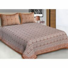 Indian Rajasthani Floral Print Cotton Brown Queen Size Double Bed Sheet & Pillow