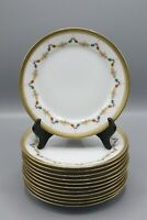 Full Set 12 Tirschenreuth Bavaria Germany PETITE ROSE Gold Floral Salad Plates