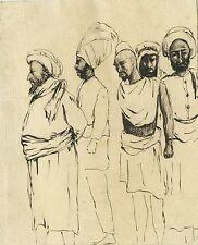 PORTRAIT STUDIES - A GROUP OF MEN IN TURBANS & ORIGINAL ANTIQUE INK SKETCHES