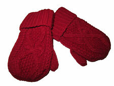 Polo Ralph Lauren Red Cable Knit Wool Cashmere Blend Boys Girls Mittens Gloves