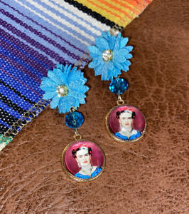 Frida Kahlo Earring Set Light Blue Flower with Rhinestone Center