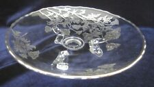 Round Glass Serving Dish with Silver Poppy Inlay on 3 Feet - 7.5 in.