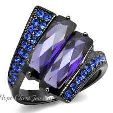 LIGHT GRAY STAINLESS STEEL RING WITH 2 LONG BLUE TANZANITE FASHION CZ SIZE 10