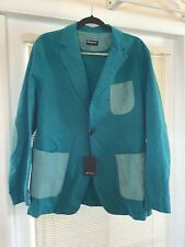 NWT Kiton Men's Cotton Suede Leather Blazer Sport Coat Unstructured 42 Teal