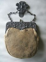 Antique Silver Floral Frame Chatelaine Belt Clip Kilt Leather Suede Coin Purse