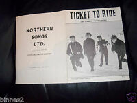 THE BEATLES OFFICIAL SHEET MUSIC TICKET TO RIDE 1964 NORTHERN SONGS LTD.