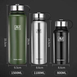 1.1L/1.5L Isolierflasche Thermosflasche Edelstahl Wasserflasche Trinkflasche DE