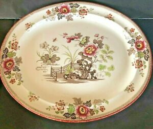 "Antique Victorian Large Ironstone Platter Meat Plate 21""X 17"""