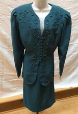 In The Mood Suit Womens 18 Teal Mother Of The Bride Beaded Skirt Jacket NWT