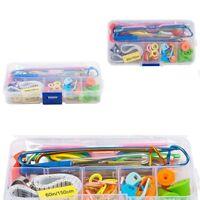 56pc Crochet Hook Knit Yarn Weave Knitting Needle Clip Marker Tool Set W/Case