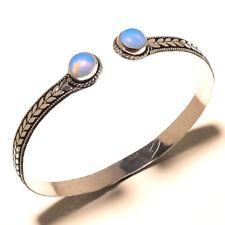 Royal Silver Plated Fire Opal Cuff Bracelet Bangel Gemstone Jewelry