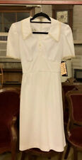 Vintage TEENA PAIGE Dress Party MOD White Short Sleeve Go Go 1960s NEW Sz M