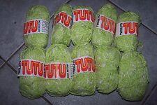 vintage 250g TWILLEYS TUTU twist slub WOOL YARN - 07 lime GREEN WHITE mix DK