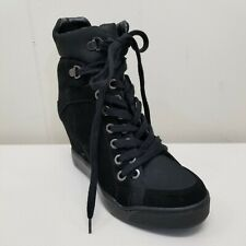 Guess 8M MATTY Wedge Sneakers Black Boots Platform Lace Up Double Grommets Vegan