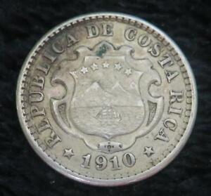 1910 Costa Rica 10 Centimos *2g of .900 Silver* Low Mintage KM#146 A086