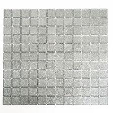 Mosaikmatte Mosaikfliesen Mosaik Quadrat Crystal uni silber gehämmert 327x302mm