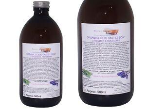 Organic Castile Soap Lavender/Rosemary, Glass Bottle 500ml,100% Natural SLS Free
