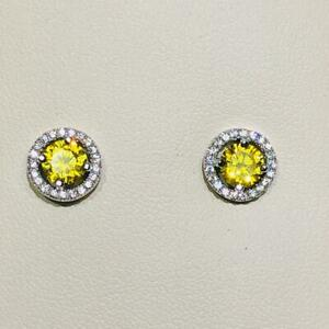 Platinum Sterling Silver Yellow & White Sapphire Pave Round Halo Stud Earrings