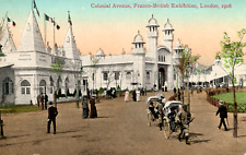 Official Franco-British Exhibit, London 1908, hand pulled carriages Colonial Ave