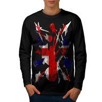 Wellcoda Rock&Roll Britain Mens Long Sleeve T-shirt, Guitar Graphic Design