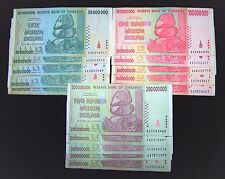 15 Zimbabwe banknotes 5 x 50/100/200 Million Dollars-paper money currency