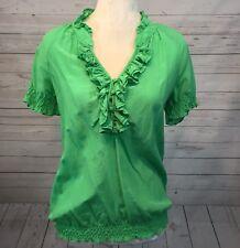 Inc International Concepts Womens Silk Blouse Ruffled Green Career V Neck Size 6