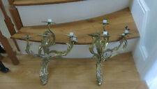 VINTAGE french brass candelabra sconce wall large