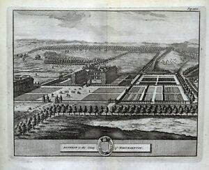 ALTHORP HOUSE NORTHAMPTONSHIRE, Van Der Aa, Kip original antique print 1727