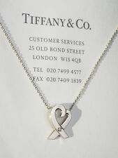Tiffany & Co Paloma Picasso Sterling Silver 0.3ct Diamond Loving Heart Necklace