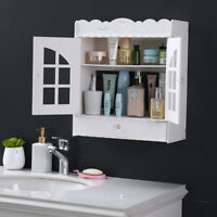 Wall Mount Home Bathroom Cabinet Organizer Kitchen Cupboard w/Door Storage Shelf