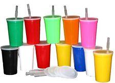 12 - 20 oz Plastic Drinking Glasses Cups Lids Straws Mix Colors Mfg USA No BPA