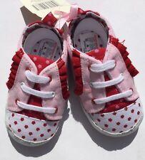 Bebé Niña Rosa Y Rojo Estilo De Béisbol Cochecito Zapatos 12 - 18 meses