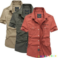 Fashion Men Army Military Casual Shirt Short Sleeve Military Style Shirts 4Color