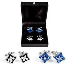 Fleur-de-lys Fleur De Lis Black & Blue 2 Pairs of Cufflinks Gift Box Free Ship