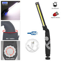 COB LED USB Rechargeable Magnetic Hand Torch Camping Work Light Lamp Flashlight