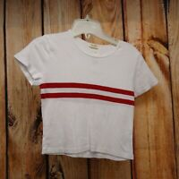 John Galt Womens Top One Size Fits All Red Striped Crewneck Cropped Tee New
