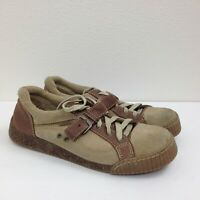 Women's MIA Brown Tan Leather Lace Up Fabric Casual Walking Comfort Shoes Sz 8 M