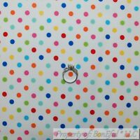 BonEful FABRIC FQ Cotton Quilt Rainbow Color White Blue Pink Yellow Polka Dot US