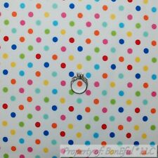BonEful FABRIC FQ Cotton Quilt Rain*bow Color White Blue Pink Yellow Polka Dot S