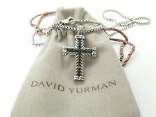 "David Yurman Sterling Silver Chevron Cross Necklace w/ Black Diamonds 20"""