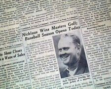 JACK NICKLAUS Wins the MASTERS Golf Tournament Augusta GA 1965 Old Newspaper