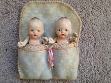 Vintage Antique Bisque Small Japan Jointed Toy Baby SET 2 TWINS PORCELAIN DOLLS