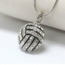 3D Crystal Rhinestone Volleyball Pendant Snake Chain Necklace Unisex Jewelry NN