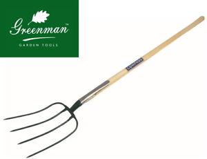 "Manure Fork 4 prong High Quality Greenman Ash Handled 4ft 48"""