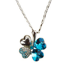 Four Leaf Clover Crystal Pendant Necklace 18K white gold plated Teal (H54/2)