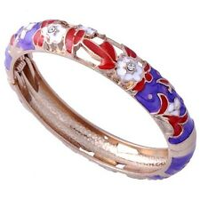 Womens Hollow Gold Filled White Flower Multicolor Enamel Cuff Bangle Bracelet