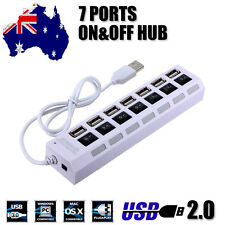 7 Port USB 2.0 HUB LED Switch Powered High Speed 480Mbps Splitter Extender Cable