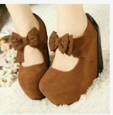 ❤️Malandita Wedge (7 INCHES LILIW WEDGE)❤️ BROWN WITH RIBBON SIZE 10
