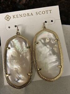 New Kendra Scott Danielle Statement Earrings In Ivory/ Golf Mother Of Pearl