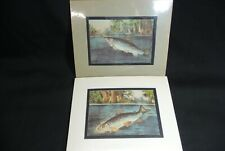 Pair of Vintage CURRIER IVES TROUT Fishing Prints w Matting